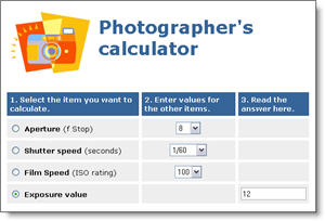Photographer's calculator